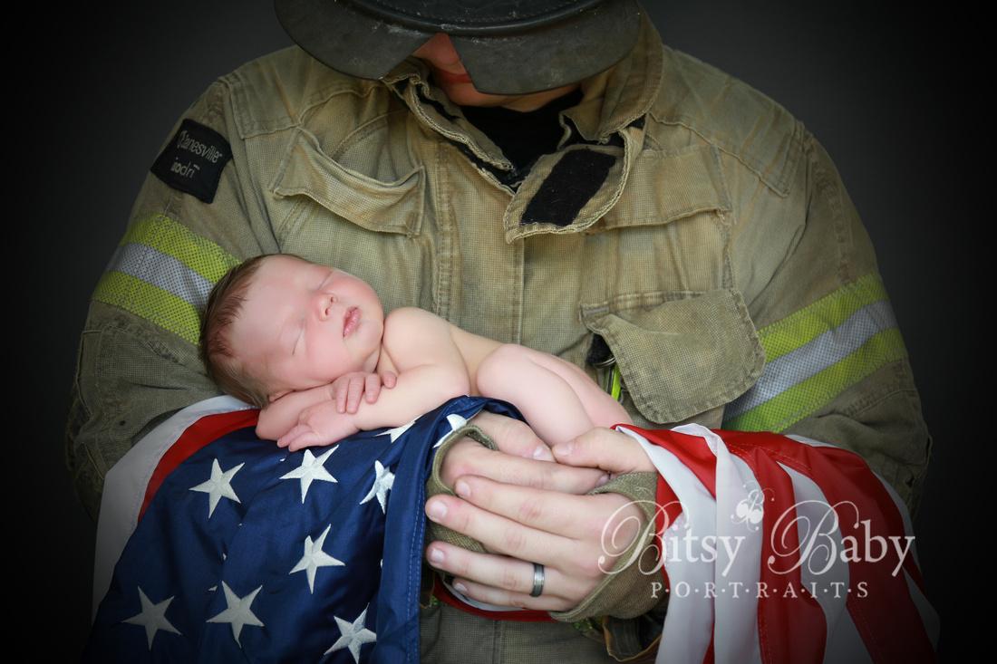 "Baby newborn ""fire fighter"" fireman photographer American Flag photography"