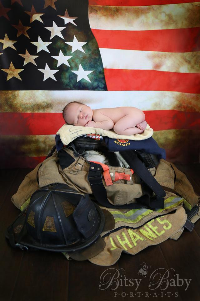 """Baby with fireman's uniform"" newborn firefighter ""American flag"""