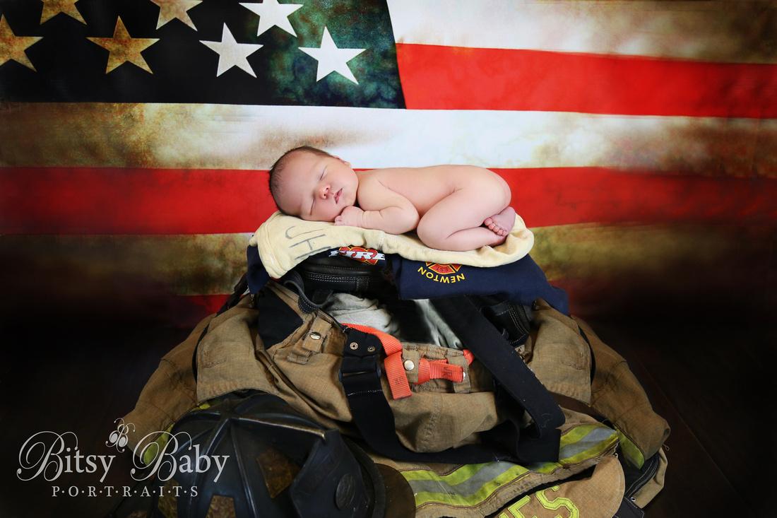 """baby with fireman's gear"" newborn firefighter ""American flag"""