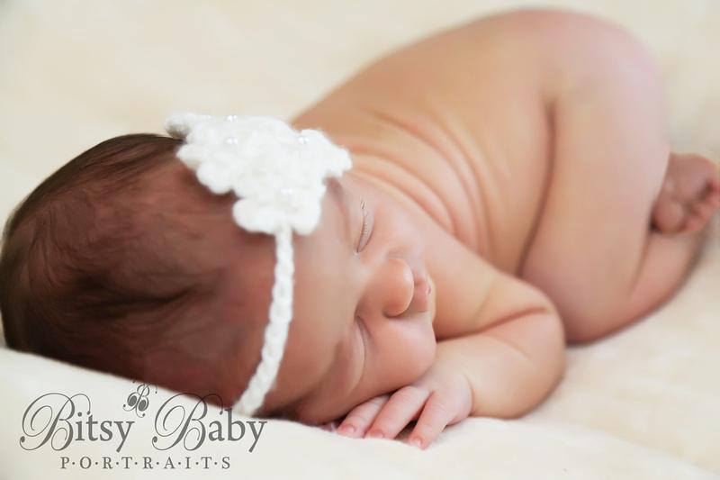 Baby with headband, newborn photography, baby