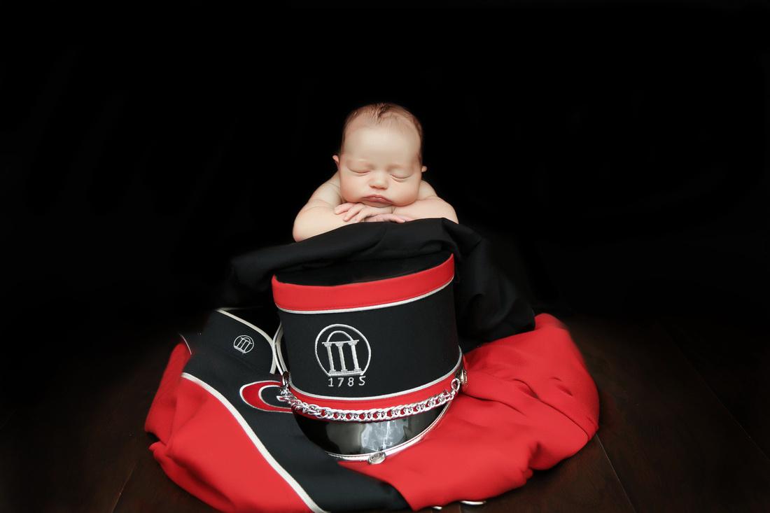 newborn photography, baby, marching band uniform