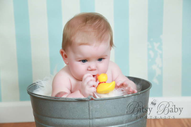 6-month baby photo session, wash tub, rubber ducky
