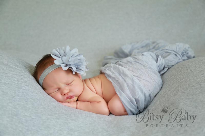 Newborn photography, grey blanket