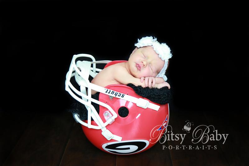 Newborn photography, UGA football helmet