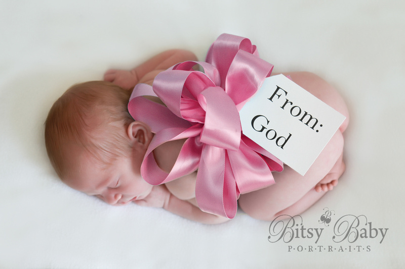 """newborn photographer, athens, ga, """"From: God"""", pink bow, Baby photography"""