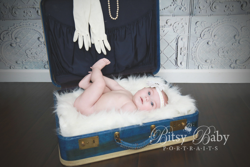 Pin-up girl baby, white fur, baby photography, baby photographer, vintage baby picture, Athens GA