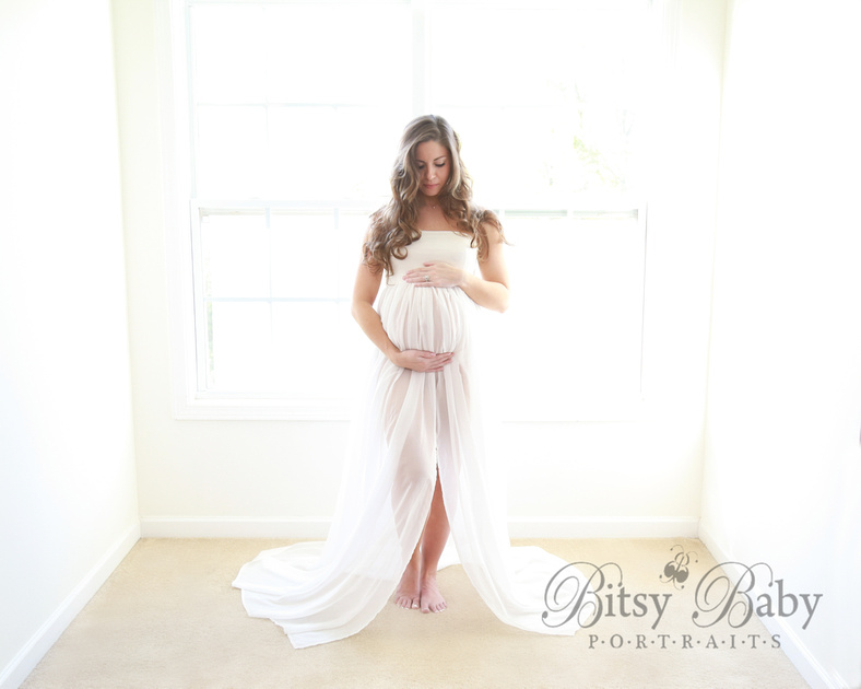 white maternity gown, maternity photo session, newborn session, sheer fabric