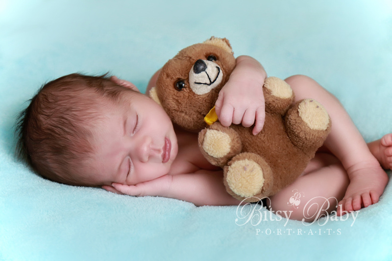 newborn photography, baby, teddy bear