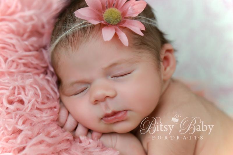 newborn photography, baby, pink Flokati rug,