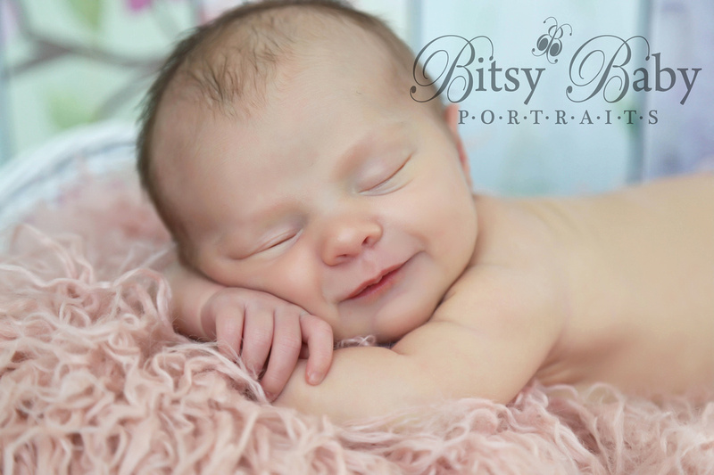 """Newborn Photographer"" ""Athens GA"" Baby on a pink fur"