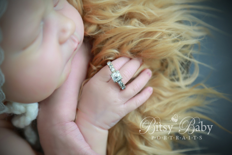 Newborn photography, vintage stroller, lace