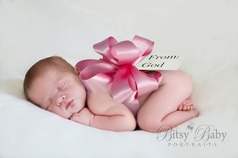 "newborn photographer, athens, ga, ""From: God"", pink bow, Baby photography"
