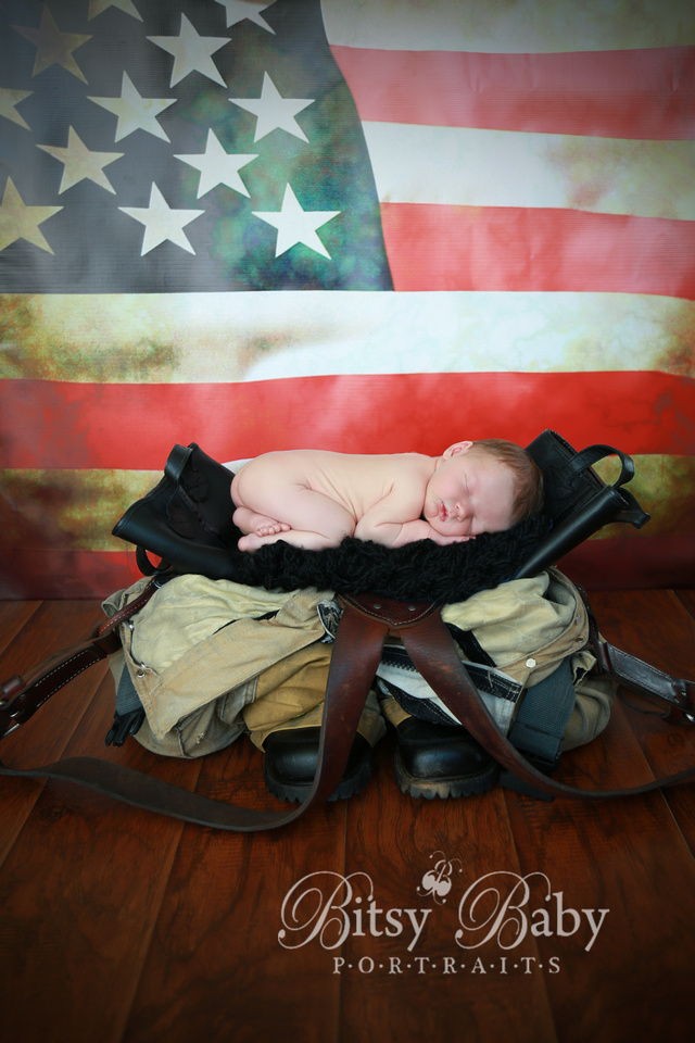 "Baby newborn ""fire fighter"" fireman photographer ""American Flag"" photography"