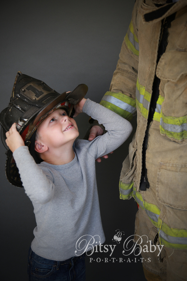 """boy fireman's gear """"fire fighter"""" hat photographer photography"""