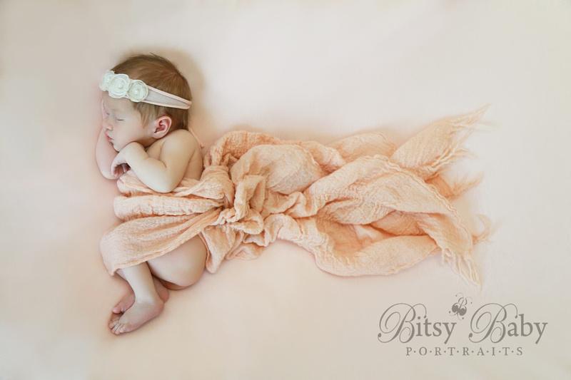 Newborn photography, baby photography, peach blanket, flower headband, Bitsy Baby Portraits, Athens GA