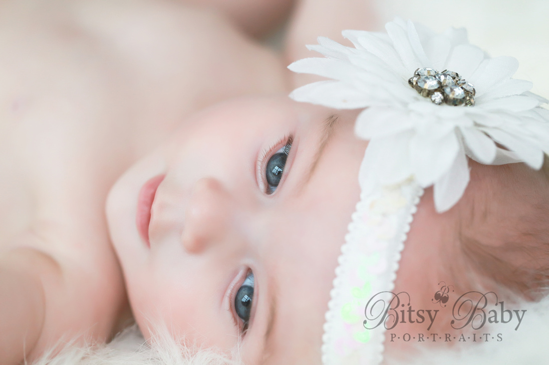 Baby, white flower, 3-month old, newborn photography, baby photography