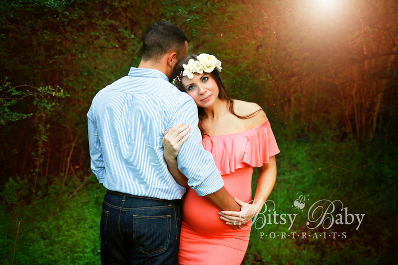 forest, flower crown, pink maternity gown, maternity photo session, newborn session, fairy maternity session
